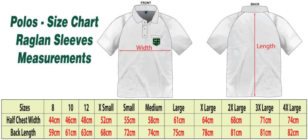 Polos Size Chart Raglan Sleeves